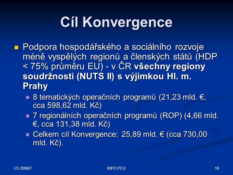 LS 2006/7 16KIP/CPEU Cíl Konvergence Podpora hospodářského a sociálního rozvoje méně vyspělých regionů a členských států (HDP < 75% průměru EU) - v ČR všechny regiony soudržnosti (NUTS II) s výjimkou Hl.
