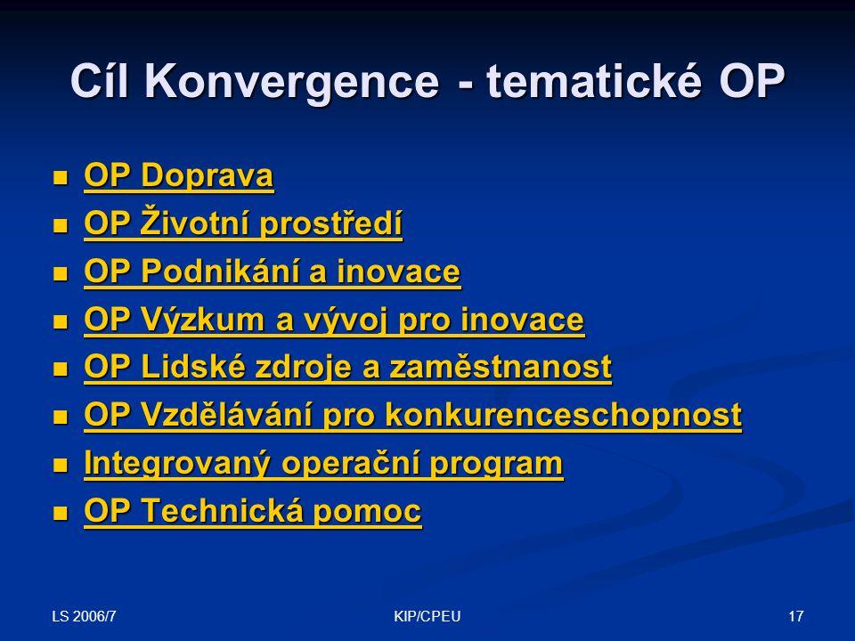LS 2006/7 17KIP/CPEU Cíl Konvergence - tematické OP OP Doprava OP Doprava OP Doprava OP Doprava OP Životní prostředí OP Životní prostředí OP Životní p