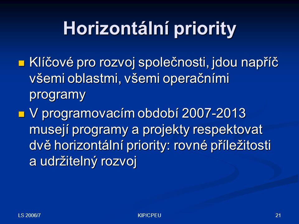 LS 2006/7 21KIP/CPEU Horizontální priority Klíčové pro rozvoj společnosti, jdou napříč všemi oblastmi, všemi operačními programy Klíčové pro rozvoj společnosti, jdou napříč všemi oblastmi, všemi operačními programy V programovacím období 2007-2013 musejí programy a projekty respektovat dvě horizontální priority: rovné příležitosti a udržitelný rozvoj V programovacím období 2007-2013 musejí programy a projekty respektovat dvě horizontální priority: rovné příležitosti a udržitelný rozvoj