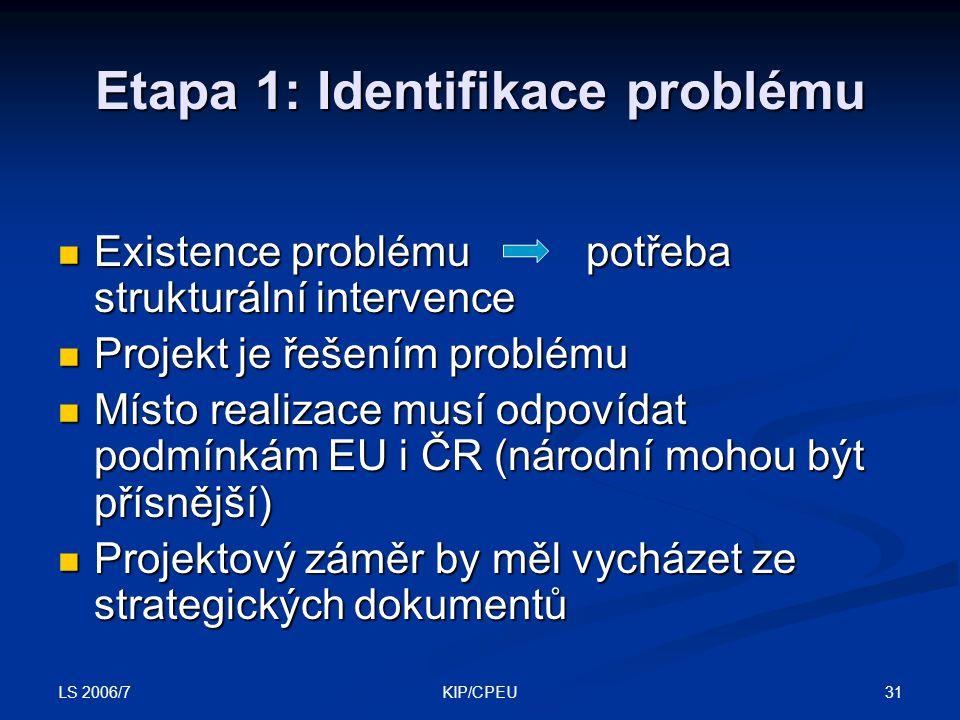 LS 2006/7 31KIP/CPEU Etapa 1: Identifikace problému Existence problému potřeba strukturální intervence Existence problému potřeba strukturální intervence Projekt je řešením problému Projekt je řešením problému Místo realizace musí odpovídat podmínkám EU i ČR (národní mohou být přísnější) Místo realizace musí odpovídat podmínkám EU i ČR (národní mohou být přísnější) Projektový záměr by měl vycházet ze strategických dokumentů Projektový záměr by měl vycházet ze strategických dokumentů