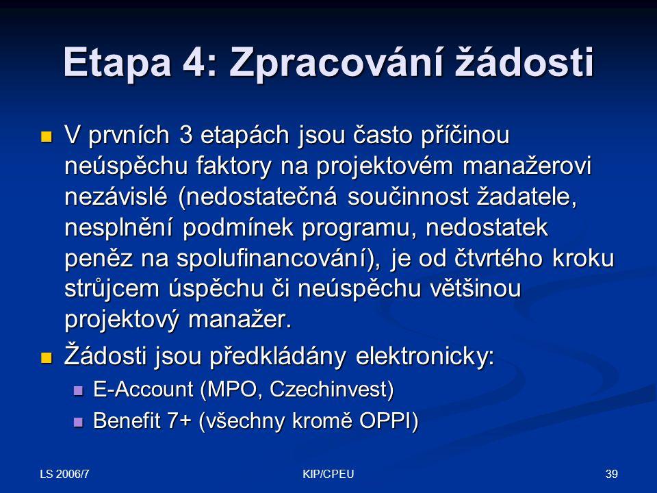 LS 2006/7 39KIP/CPEU Etapa 4: Zpracování žádosti V prvních 3 etapách jsou často příčinou neúspěchu faktory na projektovém manažerovi nezávislé (nedost