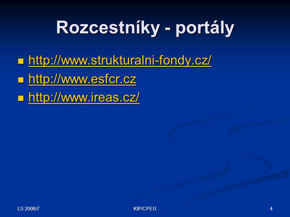 LS 2006/7 4KIP/CPEU Rozcestníky - portály http://www.strukturalni-fondy.cz/ http://www.strukturalni-fondy.cz/ http://www.strukturalni-fondy.cz/ http://www.esfcr.cz http://www.esfcr.cz http://www.esfcr.cz http://www.ireas.cz/ http://www.ireas.cz/ http://www.ireas.cz/