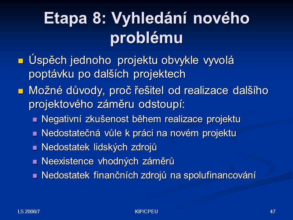 LS 2006/7 47KIP/CPEU Etapa 8: Vyhledání nového problému Úspěch jednoho projektu obvykle vyvolá poptávku po dalších projektech Úspěch jednoho projektu