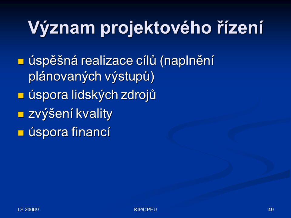LS 2006/7 49KIP/CPEU Význam projektového řízení úspěšná realizace cílů (naplnění plánovaných výstupů) úspěšná realizace cílů (naplnění plánovaných výstupů) úspora lidských zdrojů úspora lidských zdrojů zvýšení kvality zvýšení kvality úspora financí úspora financí