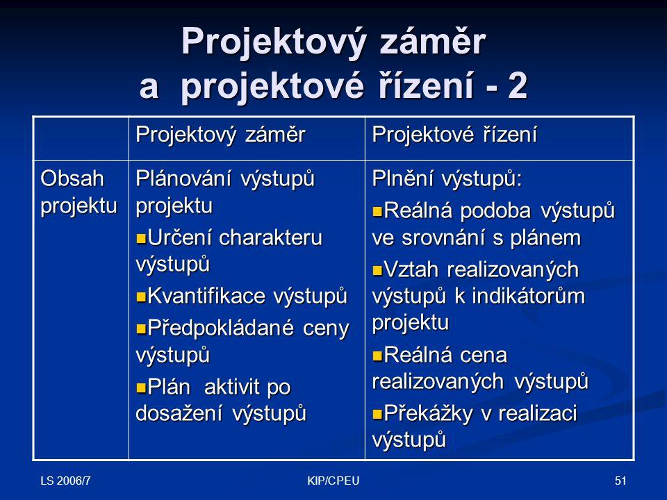 LS 2006/7 51KIP/CPEU Projektový záměr a projektové řízení - 2 Projektový záměr Projektové řízení Obsah projektu Plánování výstupů projektu Určení char