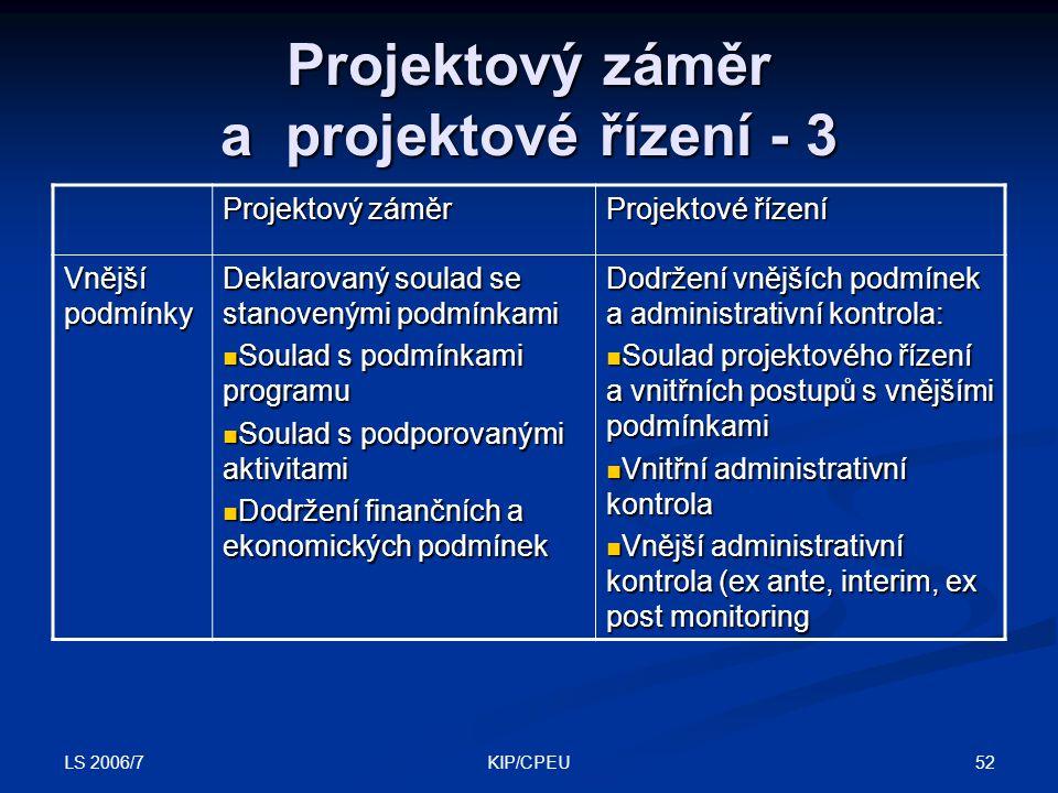 LS 2006/7 52KIP/CPEU Projektový záměr a projektové řízení - 3 Projektový záměr Projektové řízení Vnější podmínky Deklarovaný soulad se stanovenými pod