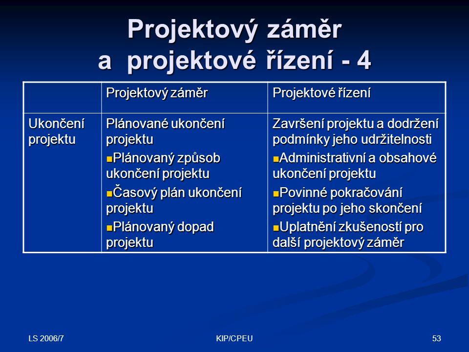 LS 2006/7 53KIP/CPEU Projektový záměr a projektové řízení - 4 Projektový záměr Projektové řízení Ukončení projektu Plánované ukončení projektu Plánova