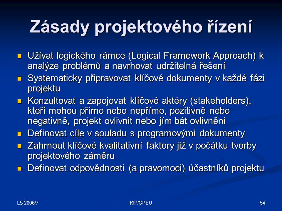 LS 2006/7 54KIP/CPEU Zásady projektového řízení Užívat logického rámce (Logical Framework Approach) k analýze problémů a navrhovat udržitelná řešení Užívat logického rámce (Logical Framework Approach) k analýze problémů a navrhovat udržitelná řešení Systematicky připravovat klíčové dokumenty v každé fázi projektu Systematicky připravovat klíčové dokumenty v každé fázi projektu Konzultovat a zapojovat klíčové aktéry (stakeholders), kteří mohou přímo nebo nepřímo, pozitivně nebo negativně, projekt ovlivnit nebo jím bát ovlivněni Konzultovat a zapojovat klíčové aktéry (stakeholders), kteří mohou přímo nebo nepřímo, pozitivně nebo negativně, projekt ovlivnit nebo jím bát ovlivněni Definovat cíle v souladu s programovými dokumenty Definovat cíle v souladu s programovými dokumenty Zahrnout klíčové kvalitativní faktory již v počátku tvorby projektového záměru Zahrnout klíčové kvalitativní faktory již v počátku tvorby projektového záměru Definovat odpovědnosti (a pravomoci) účastníků projektu Definovat odpovědnosti (a pravomoci) účastníků projektu
