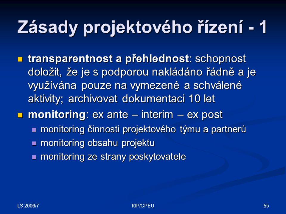 LS 2006/7 55KIP/CPEU Zásady projektového řízení - 1 transparentnost a přehlednost: schopnost doložit, že je s podporou nakládáno řádně a je využívána pouze na vymezené a schválené aktivity; archivovat dokumentaci 10 let transparentnost a přehlednost: schopnost doložit, že je s podporou nakládáno řádně a je využívána pouze na vymezené a schválené aktivity; archivovat dokumentaci 10 let monitoring: ex ante – interim – ex post monitoring: ex ante – interim – ex post monitoring činnosti projektového týmu a partnerů monitoring činnosti projektového týmu a partnerů monitoring obsahu projektu monitoring obsahu projektu monitoring ze strany poskytovatele monitoring ze strany poskytovatele