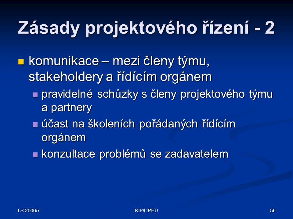 LS 2006/7 56KIP/CPEU Zásady projektového řízení - 2 komunikace – mezi členy týmu, stakeholdery a řídícím orgánem komunikace – mezi členy týmu, stakeho