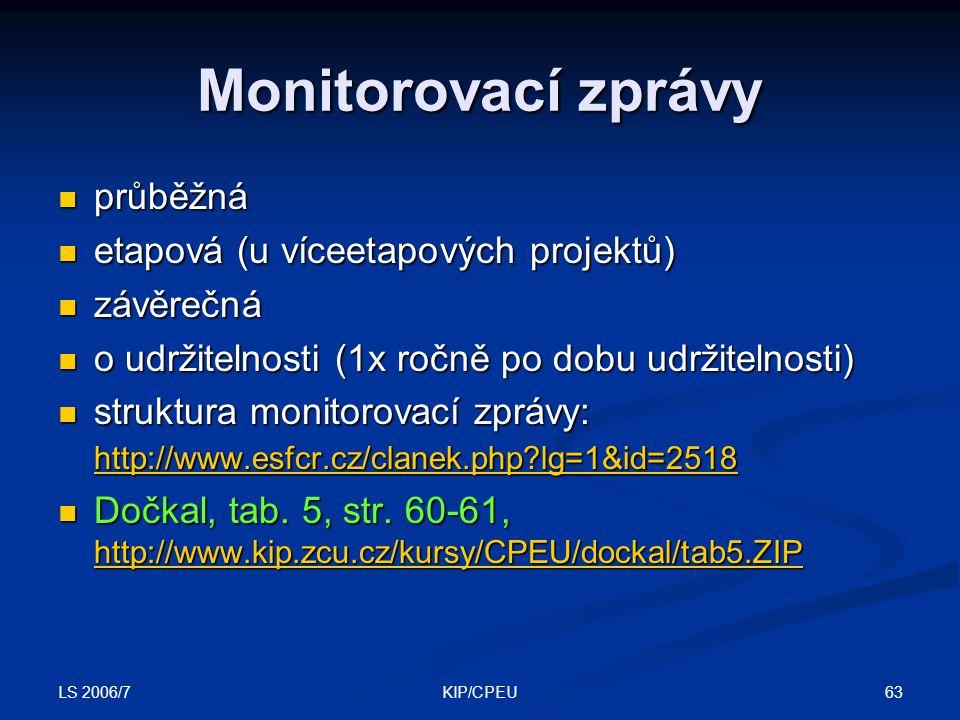 LS 2006/7 63KIP/CPEU Monitorovací zprávy průběžná průběžná etapová (u víceetapových projektů) etapová (u víceetapových projektů) závěrečná závěrečná o udržitelnosti (1x ročně po dobu udržitelnosti) o udržitelnosti (1x ročně po dobu udržitelnosti) struktura monitorovací zprávy: http://www.esfcr.cz/clanek.php?lg=1&id=2518 struktura monitorovací zprávy: http://www.esfcr.cz/clanek.php?lg=1&id=2518 http://www.esfcr.cz/clanek.php?lg=1&id=2518 http://www.esfcr.cz/clanek.php?lg=1&id=2518 Dočkal, tab.