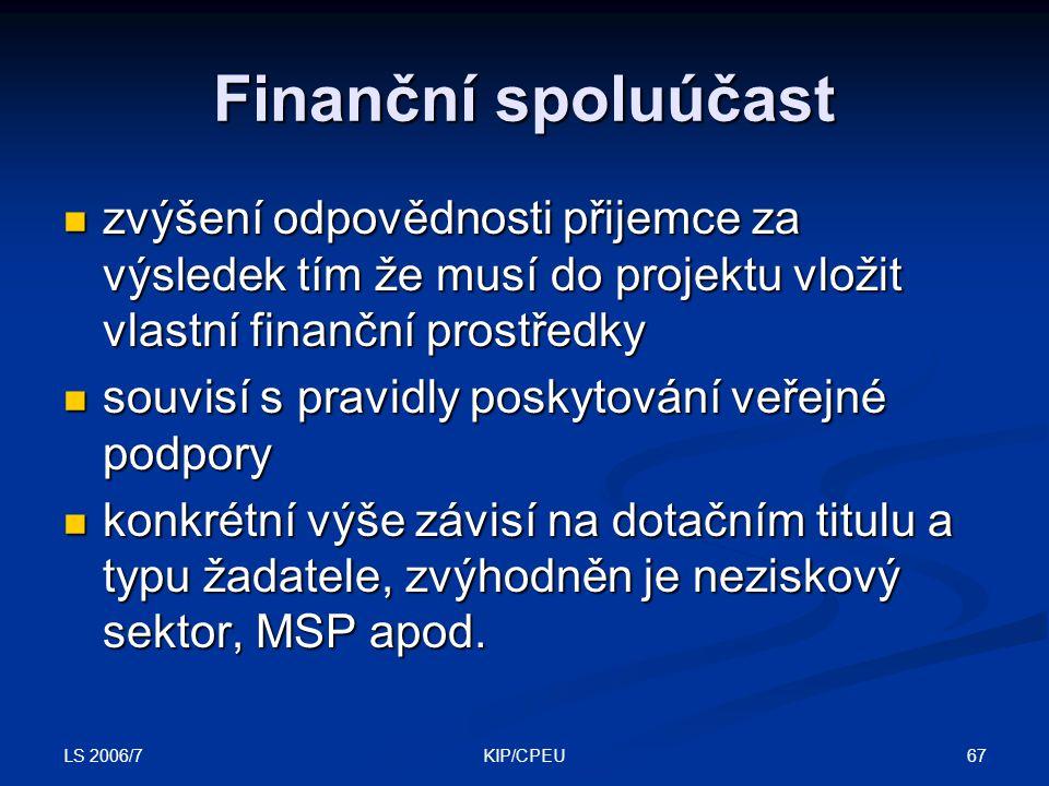 LS 2006/7 67KIP/CPEU Finanční spoluúčast zvýšení odpovědnosti přijemce za výsledek tím že musí do projektu vložit vlastní finanční prostředky zvýšení odpovědnosti přijemce za výsledek tím že musí do projektu vložit vlastní finanční prostředky souvisí s pravidly poskytování veřejné podpory souvisí s pravidly poskytování veřejné podpory konkrétní výše závisí na dotačním titulu a typu žadatele, zvýhodněn je neziskový sektor, MSP apod.