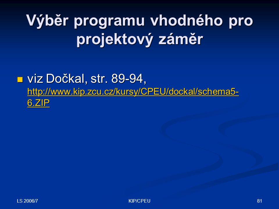 LS 2006/7 81KIP/CPEU Výběr programu vhodného pro projektový záměr viz Dočkal, str. 89-94, http://www.kip.zcu.cz/kursy/CPEU/dockal/schema5- 6.ZIP viz D