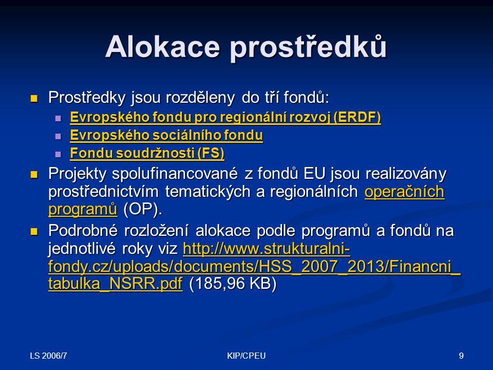 LS 2006/7 9KIP/CPEU Alokace prostředků Prostředky jsou rozděleny do tří fondů: Prostředky jsou rozděleny do tří fondů: Evropského fondu pro regionální
