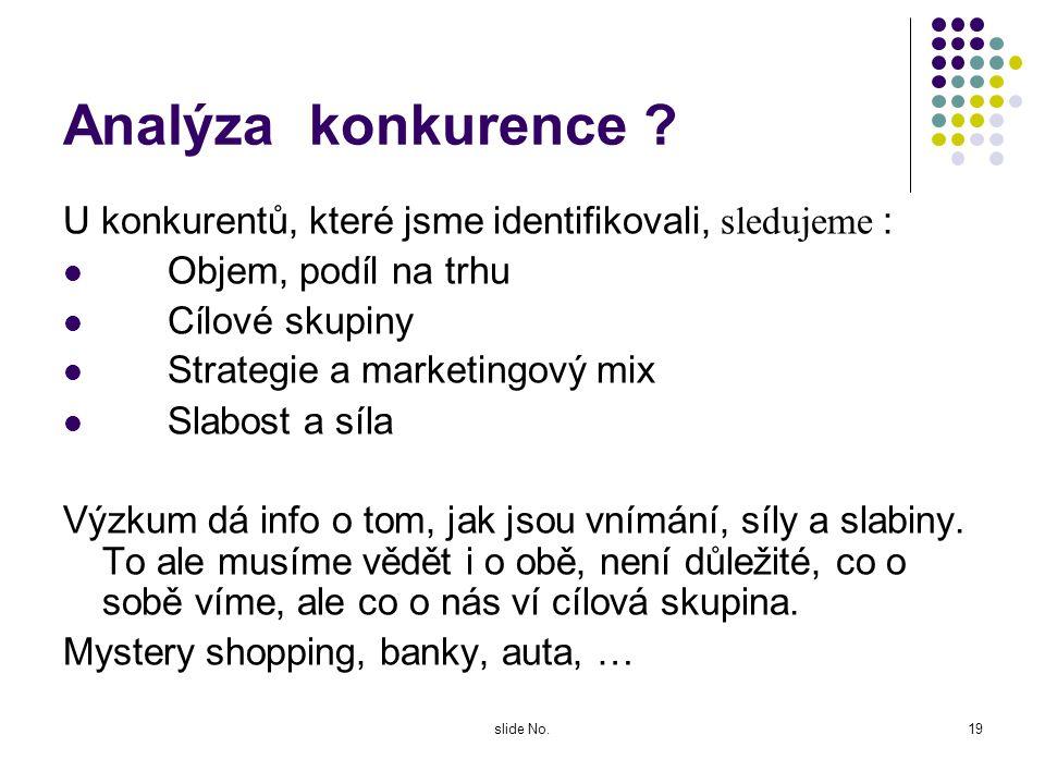 slide No.18 Kdo je konkurence ? Ne ten, kdo podniká ve stejném oboru Ten, kdo uspokojuje stejné potřeby rozhodující je pohled a vnímání spotřebitele.