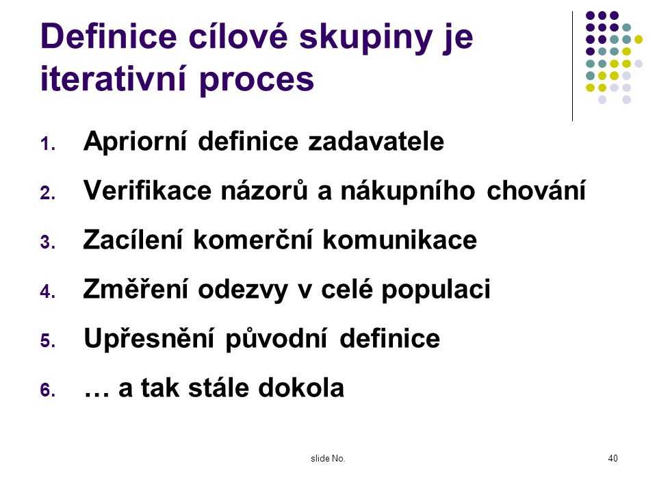 slide No.39 Náklady komerční komunikace: všechno je relativní Fixní náklady na tvorbu komunikačních nástrojů (nutné náklady: Kolik je skutečně nutné m