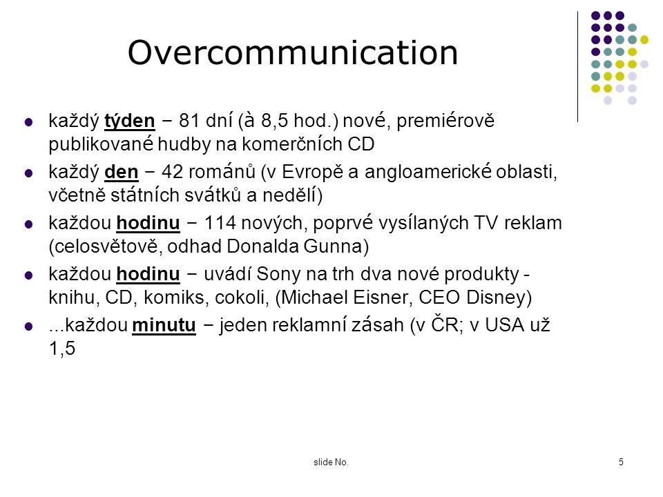 slide No.4 Oversupply Ve společnosti, do které Česká republika, spadá, se v naprosté většině oblastí dominujícím faktorem stal obrovský převis nabídky