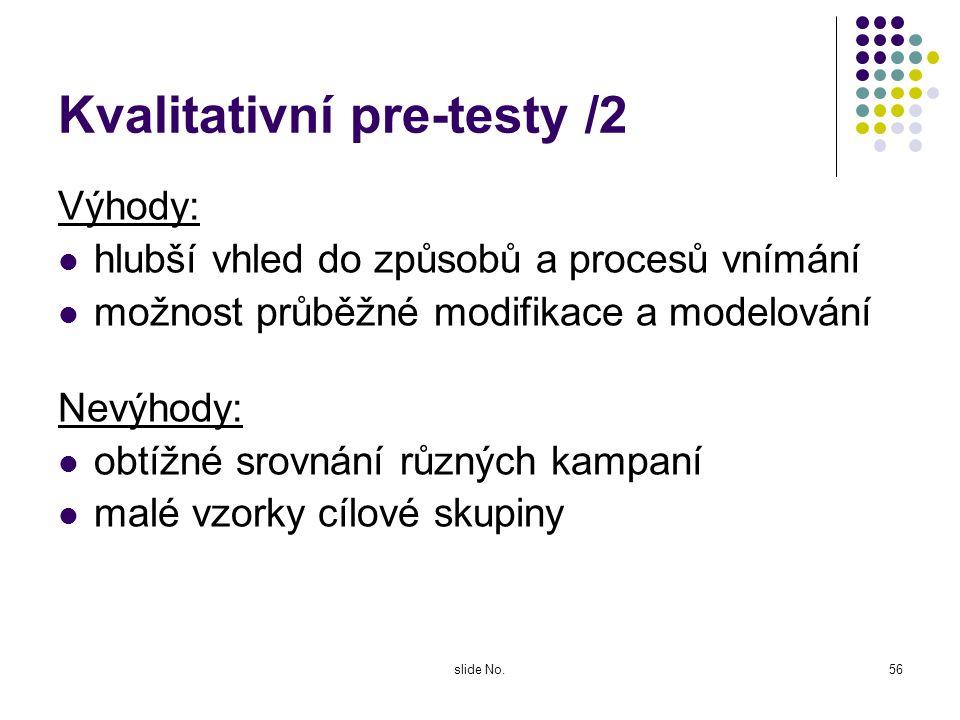 slide No.55 Kvalitativní pre-testy /1 Využívají skupinových diskusí (FG) nebo individuálních hloubkových rozhovorů Zjišťují, jak cílová skupina bude r