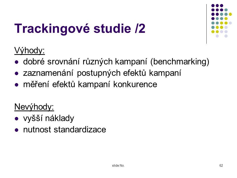 slide No.61 Trackingové studie /1 Charakteristika: dlouhodobý kvantitativní výzkumu Cíl: zjistit vliv celé série reklamních kampaní (vlastních i konku