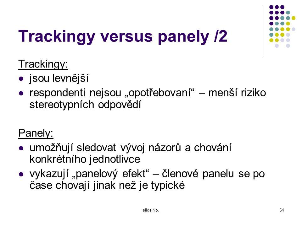 slide No.63 Trackingy versus panely /1 Trackingový výzkum probíhá na sérii nezávislý výběrových souborů, respondenti jsou získáni pro jednorázovou spo