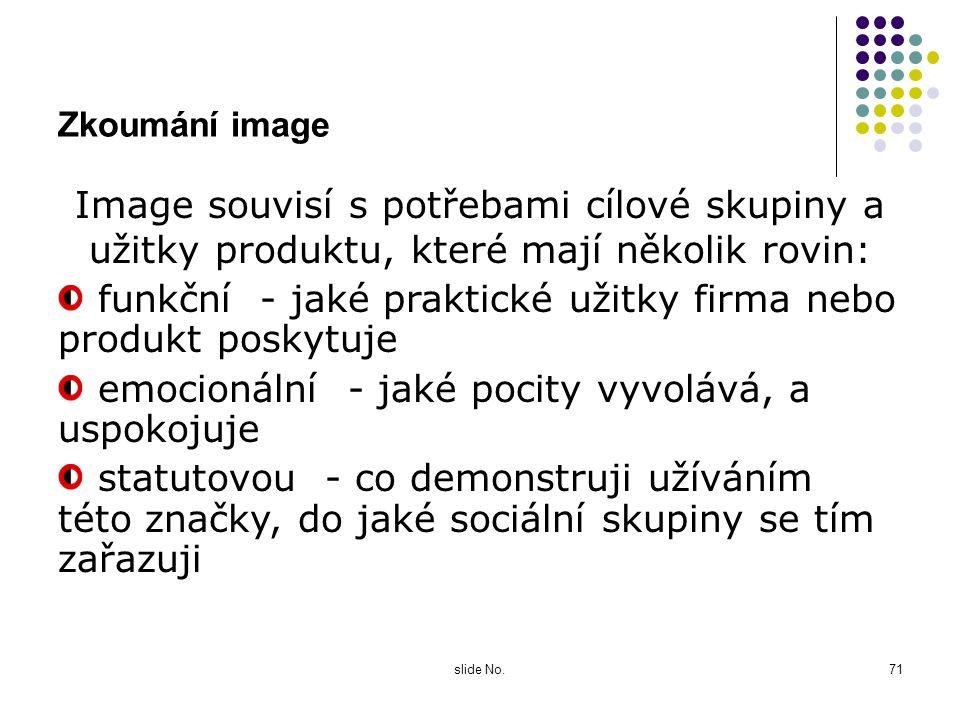 slide No.70 Co vlastně je image ? Image je složitá entita, která zahrnuje nejen parametry produktu, ale i jeho osobnost, emoce, které vyvolává, hodnot