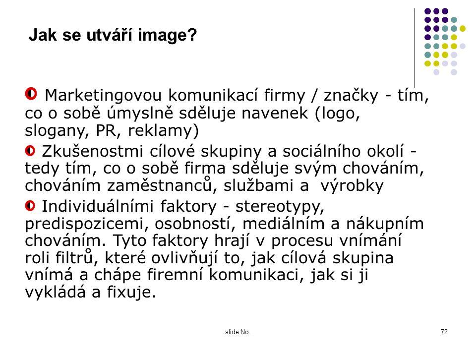 slide No.71 Zkoumání image Image souvisí s potřebami cílové skupiny a užitky produktu, které mají několik rovin: funkční - jaké praktické užitky firma