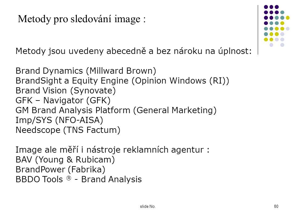 slide No.79 Obvyklé indikátory znalost firmy / značky odlišení od konkurence zkušenost a využívání služeb / produktů atraktivita firmy / značky afinit