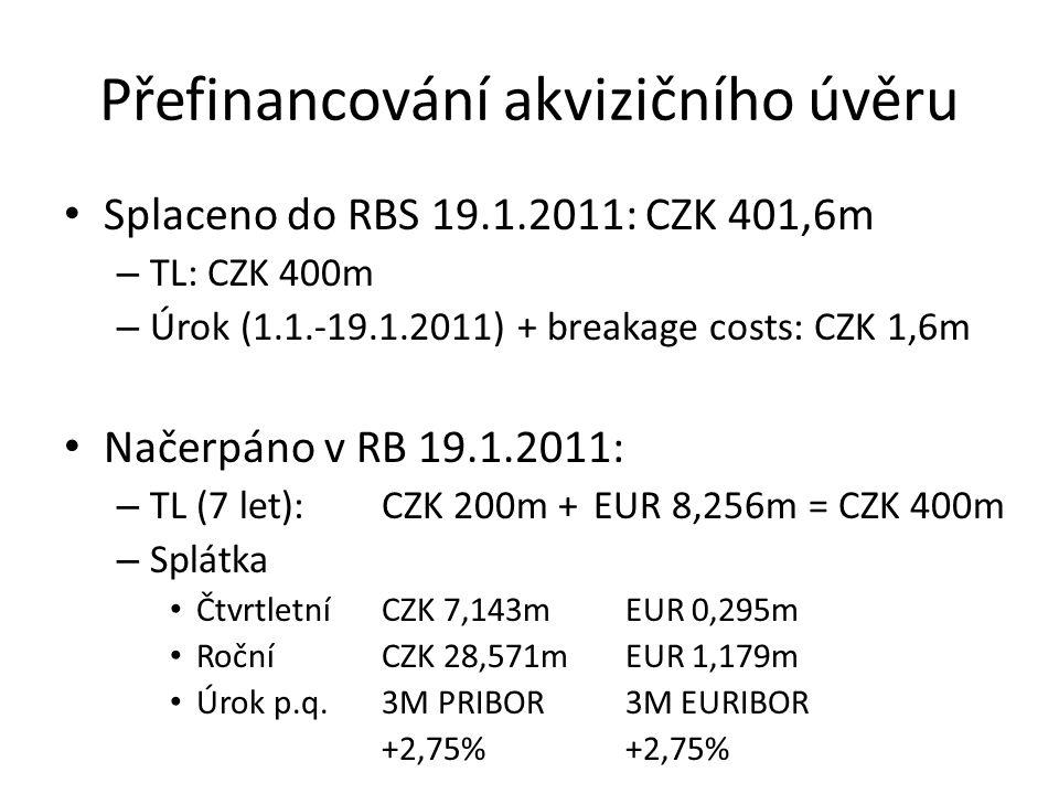 Přefinancování kontokorentu Splaceno do RBS 19.1.2011: – Kontokorent: CZK 247,2m (včetně IRS CZK 41,4m a breakage costs) EUR 0,489m Po intervenci Roberta Cohena byl IRS zpětně redukován z CZK 41,4m na CZK 37,9.