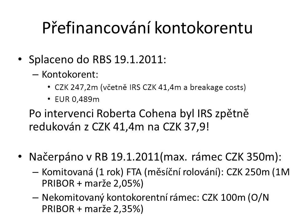 Přefinancování kontokorentu Splaceno do RBS 19.1.2011: – Kontokorent: CZK 247,2m (včetně IRS CZK 41,4m a breakage costs) EUR 0,489m Po intervenci Robe