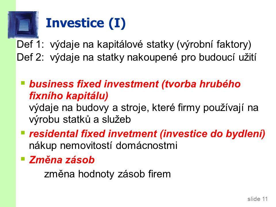 slide 11 Investice (I) Def 1: výdaje na kapitálové statky (výrobní faktory) Def 2: výdaje na statky nakoupené pro budoucí užití  business fixed investment (tvorba hrubého fixního kapitálu) výdaje na budovy a stroje, které firmy používají na výrobu statků a služeb  residental fixed invetment (investice do bydlení) nákup nemovitostí domácnostmi  Změna zásob změna hodnoty zásob firem