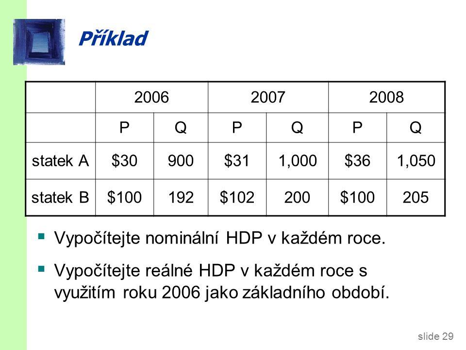 slide 29 Příklad  Vypočítejte nominální HDP v každém roce.