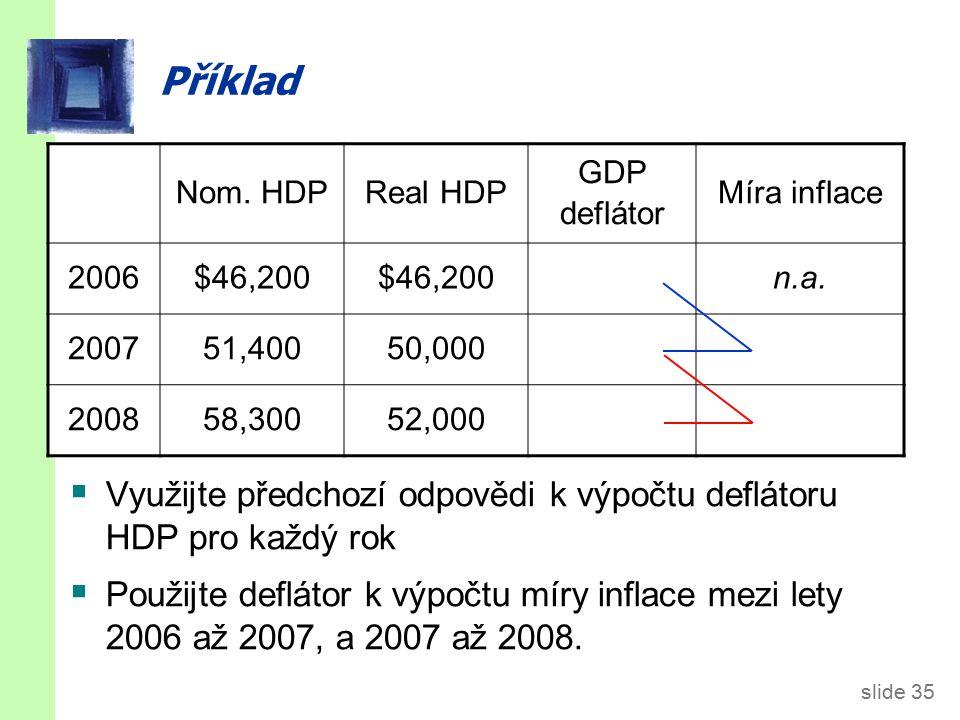 slide 35 Příklad  Využijte předchozí odpovědi k výpočtu deflátoru HDP pro každý rok  Použijte deflátor k výpočtu míry inflace mezi lety 2006 až 2007, a 2007 až 2008.