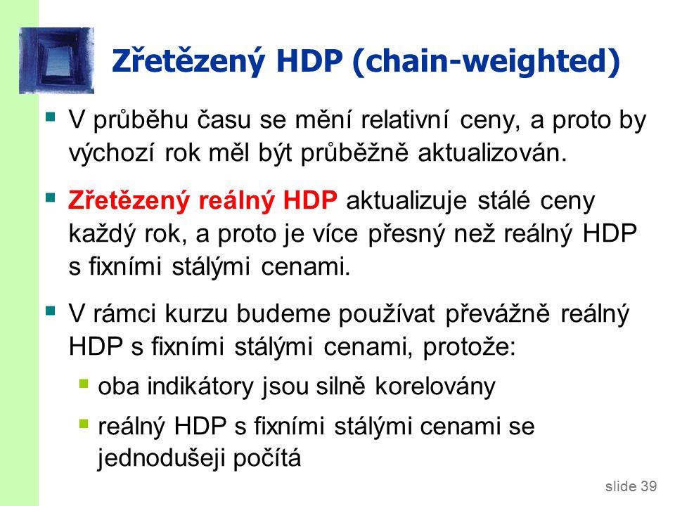 slide 39 Zřetězený HDP (chain-weighted)  V průběhu času se mění relativní ceny, a proto by výchozí rok měl být průběžně aktualizován.