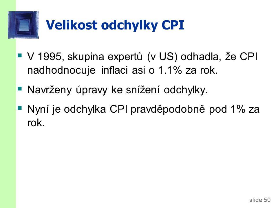 slide 50 Velikost odchylky CPI  V 1995, skupina expertů (v US) odhadla, že CPI nadhodnocuje inflaci asi o 1.1% za rok.