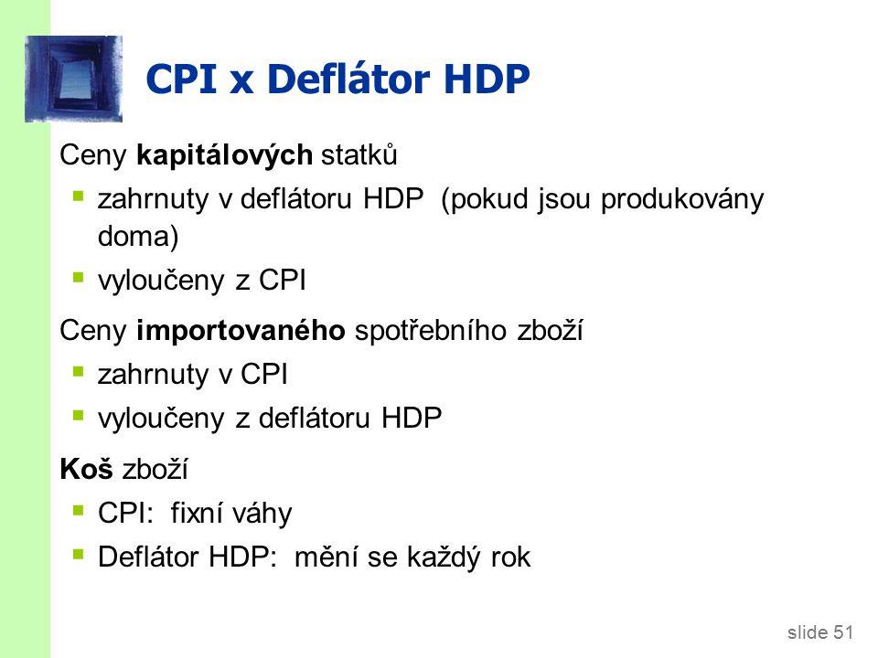 slide 51 CPI x Deflátor HDP Ceny kapitálových statků  zahrnuty v deflátoru HDP (pokud jsou produkovány doma)  vyloučeny z CPI Ceny importovaného spotřebního zboží  zahrnuty v CPI  vyloučeny z deflátoru HDP Koš zboží  CPI: fixní váhy  Deflátor HDP: mění se každý rok