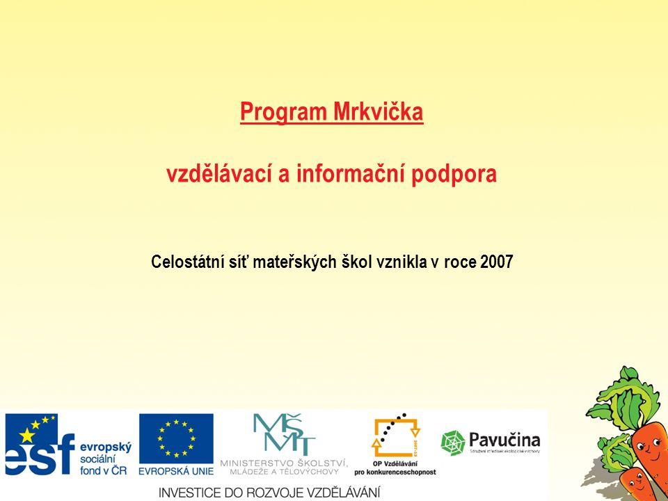 Program Mrkvička vzdělávací a informační podpora Celostátní síť mateřských škol vznikla v roce 2007