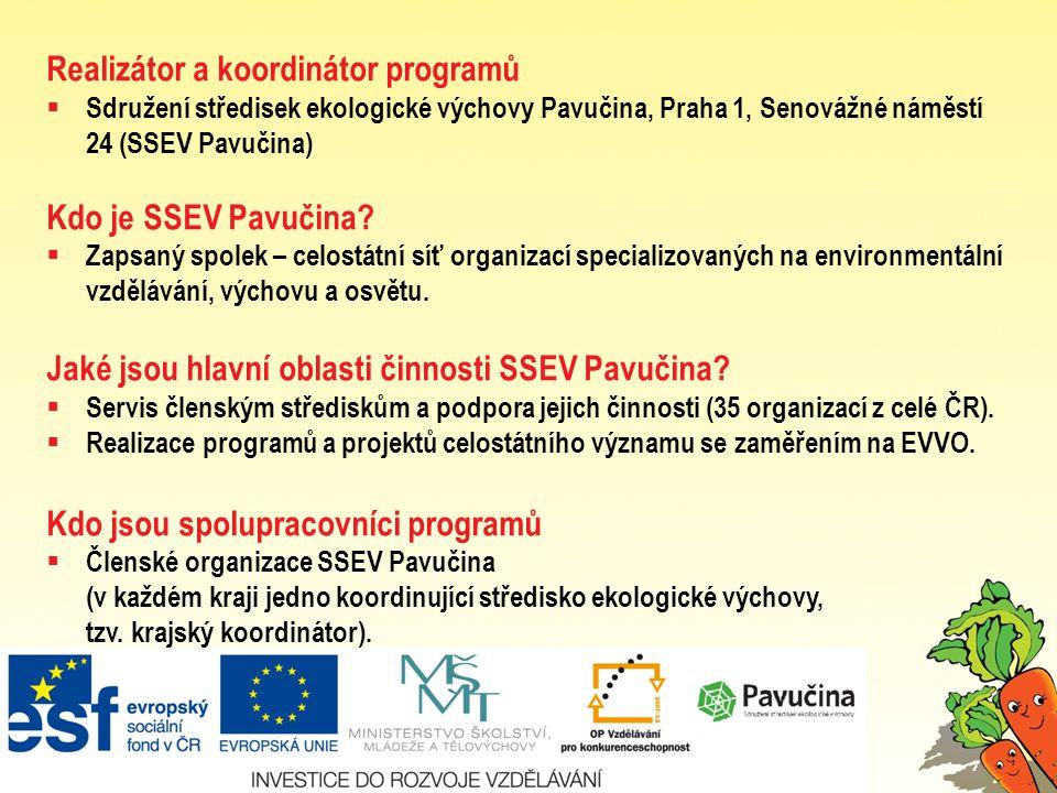 Realizátor a koordinátor programů  Sdružení středisek ekologické výchovy Pavučina, Praha 1, Senovážné náměstí 24 (SSEV Pavučina) Kdo je SSEV Pavučina.