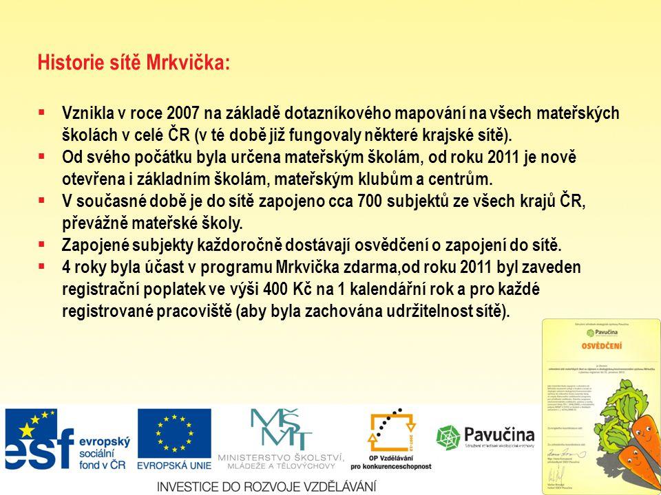 Historie sítě Mrkvička:  Vznikla v roce 2007 na základě dotazníkového mapování na všech mateřských školách v celé ČR (v té době již fungovaly některé krajské sítě).