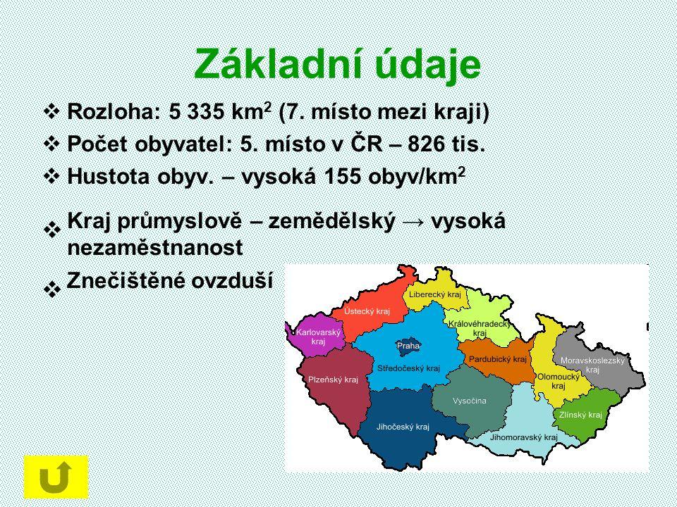 Základní údaje  Rozloha: 5 335 km 2 (7. místo mezi kraji)  Počet obyvatel: 5. místo v ČR – 826 tis.  Hustota obyv. – vysoká 155 obyv/km 2  Kraj pr