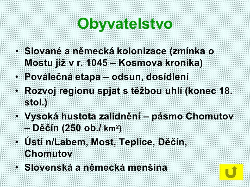 Obyvatelstvo Slované a německá kolonizace (zmínka o Mostu již v r. 1045 – Kosmova kronika) Poválečná etapa – odsun, dosídlení Rozvoj regionu spjat s t