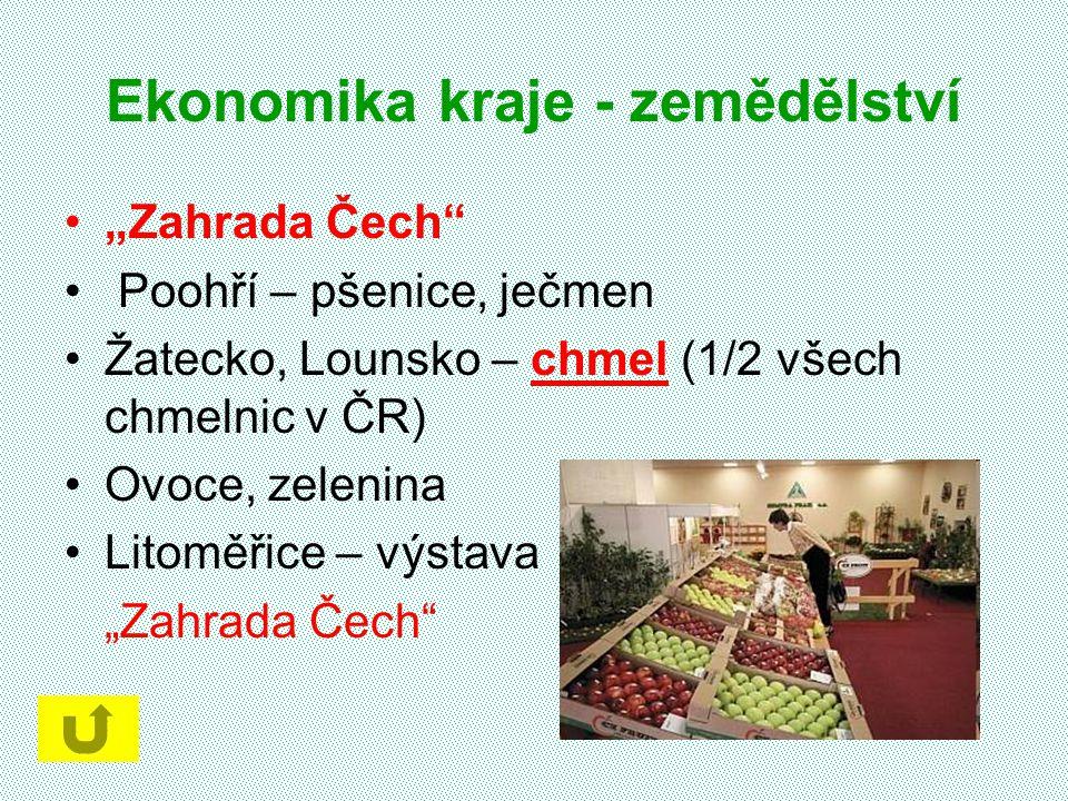 """Ekonomika kraje - zemědělství """"Zahrada Čech"""" Poohří – pšenice, ječmen Žatecko, Lounsko – chmel (1/2 všech chmelnic v ČR) Ovoce, zelenina Litoměřice –"""