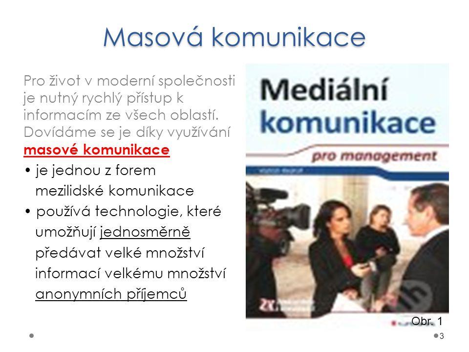 Masová komunikace 3 Pro život v moderní společnosti je nutný rychlý přístup k informacím ze všech oblastí. Dovídáme se je díky využívání masové komuni