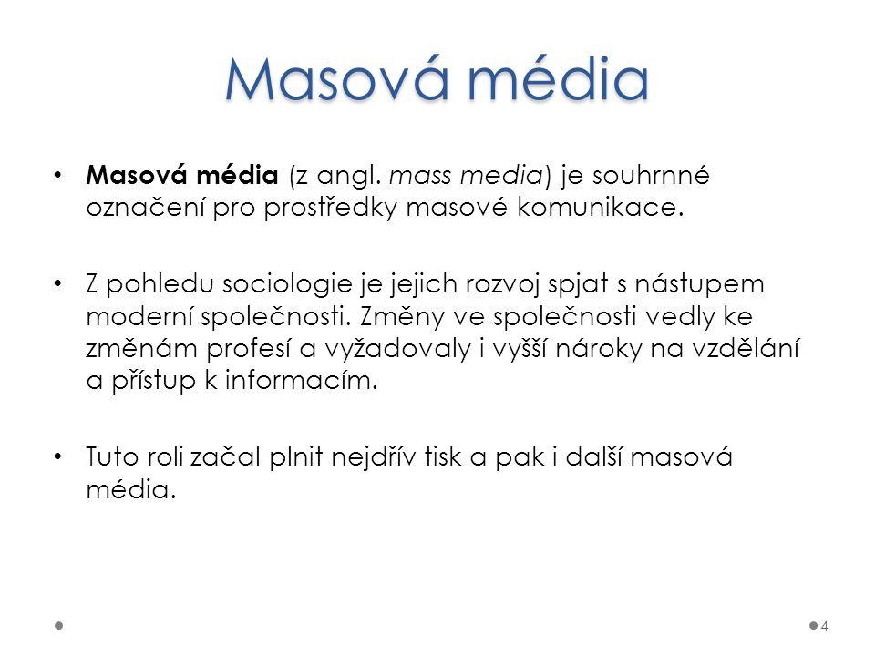 Masová média Masová média (z angl. mass media) je souhrnné označení pro prostředky masové komunikace. Z pohledu sociologie je jejich rozvoj spjat s ná