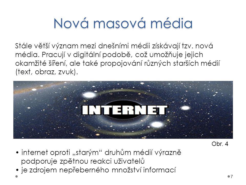 Nová masová média 7 Stále větší význam mezi dnešními médii získávají tzv. nová média. Pracují v digitální podobě, což umožňuje jejich okamžité šíření,