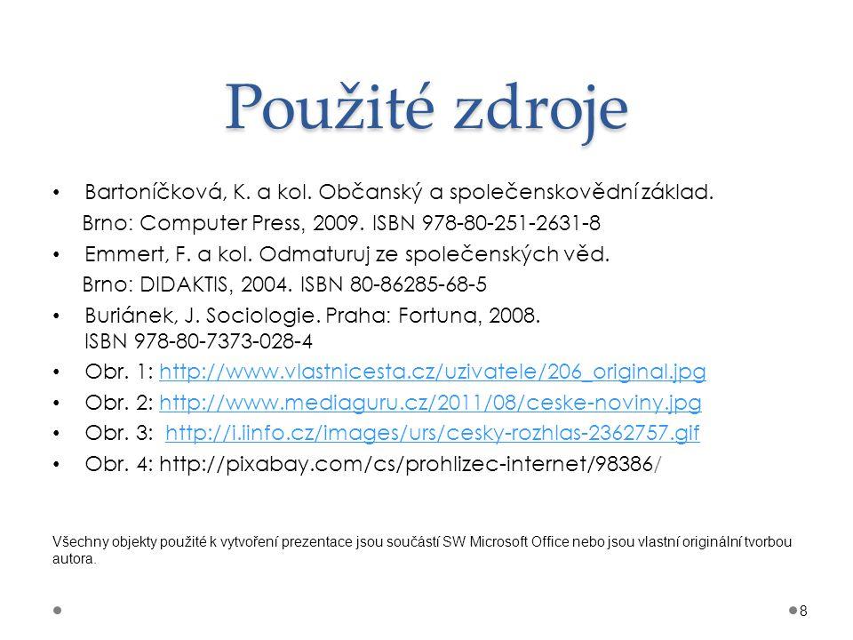 Použité zdroje Bartoníčková, K. a kol. Občanský a společenskovědní základ. Brno : Computer Press, 2009. ISBN 978-80-251-2631-8 Emmert, F. a kol. Odmat