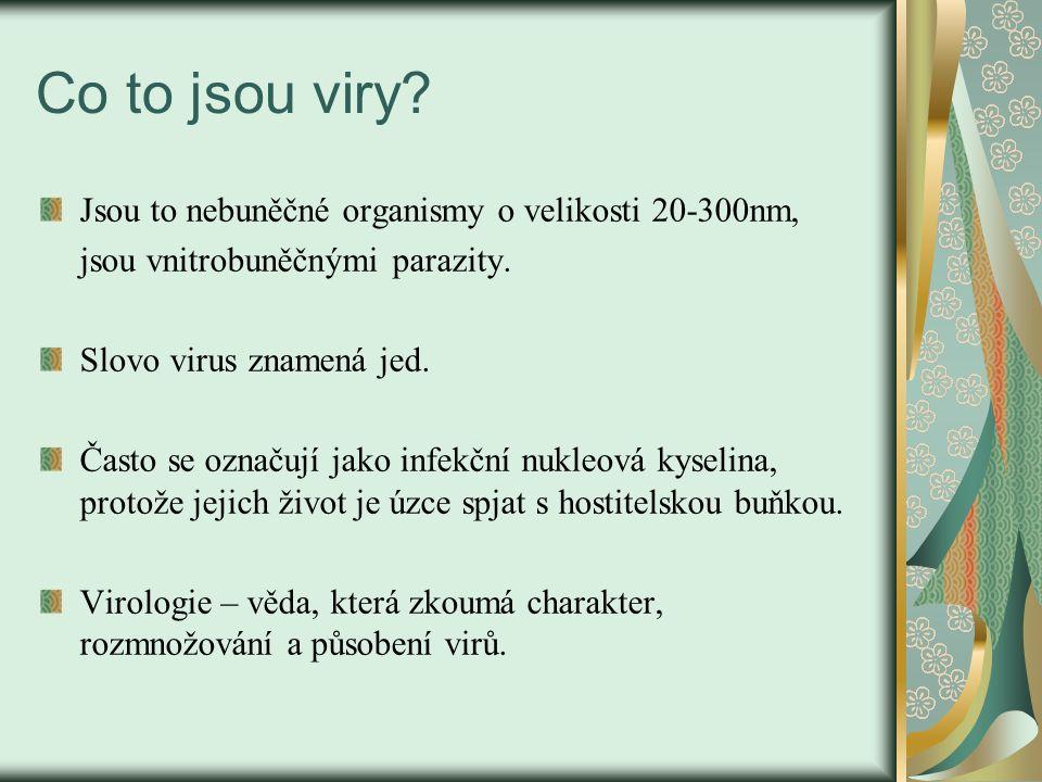 Co to jsou viry? Jsou to nebuněčné organismy o velikosti 20-300nm, jsou vnitrobuněčnými parazity. Slovo virus znamená jed. Často se označují jako infe