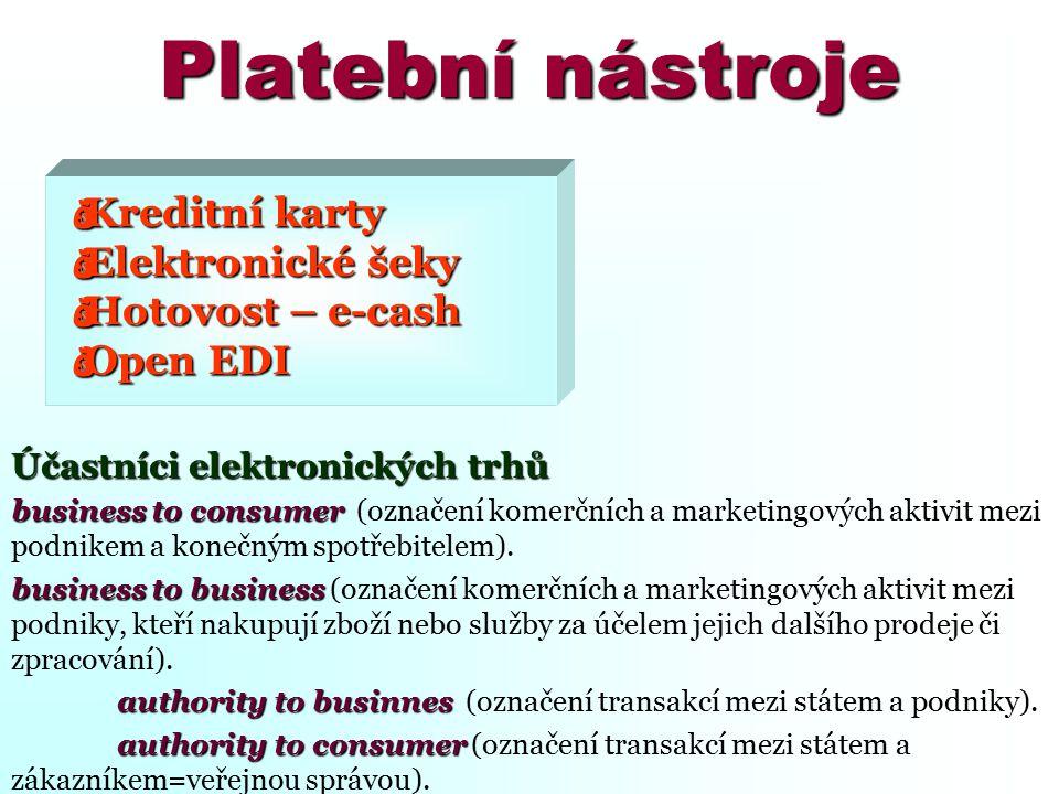 Platební nástroje  Kreditní karty  Elektronické šeky  Hotovost – e-cash  Open EDI Účastníci elektronických trhů business to consumer business to c
