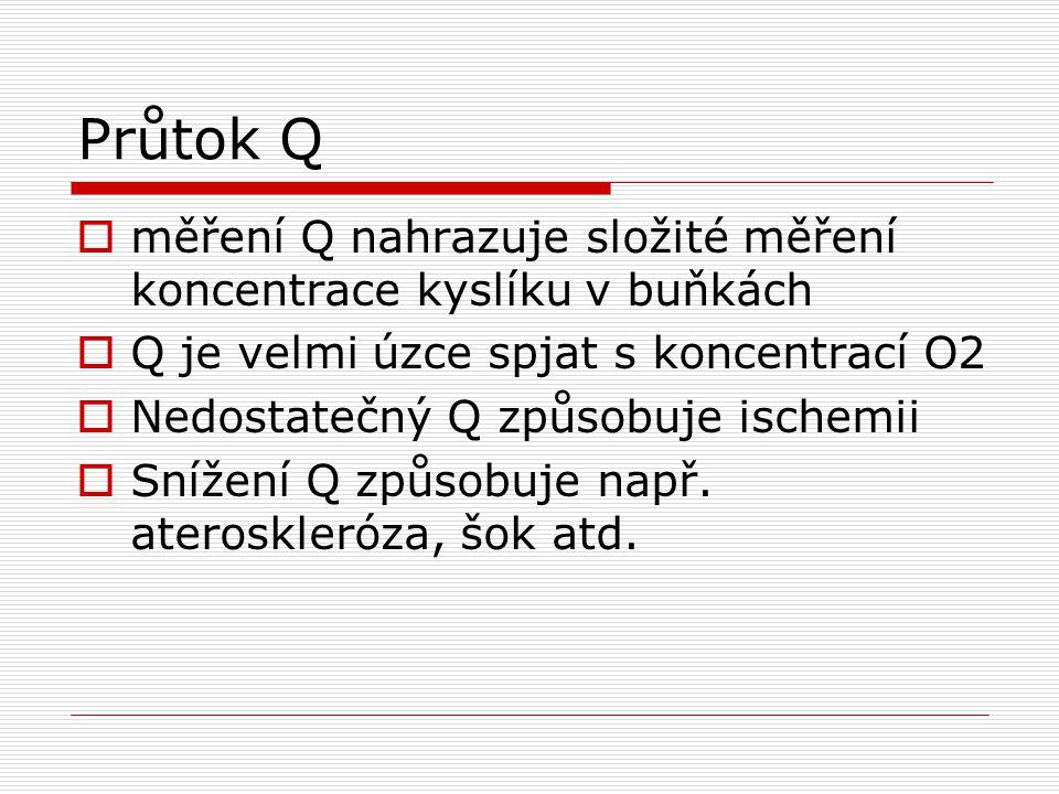 Průtok Q  měření Q nahrazuje složité měření koncentrace kyslíku v buňkách  Q je velmi úzce spjat s koncentrací O2  Nedostatečný Q způsobuje ischemii  Snížení Q způsobuje např.