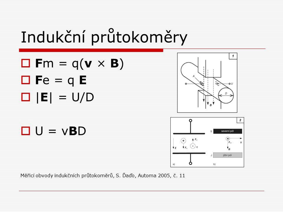 Indukční průtokoměry  Fm = q(v × B)  Fe = q E  |E| = U/D  U = vBD Měřicí obvody indukčních průtokoměrů, S.