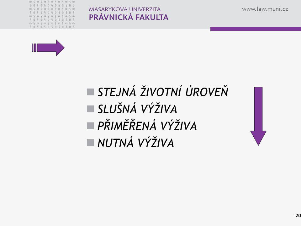 www.law.muni.cz Věk dítěteDíl z platu připadající na výživné 0 - 5 let11 - 15 % 6 - 9 let13 - 17 % 10 – 14 let15 - 19 % 15 - 17 let16 - 22% 18 a více let19 - 25% JUDr.